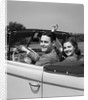1941 1940s Couple Man Woman On A Date Sitting In Pontiac Convertible Automobile by Corbis