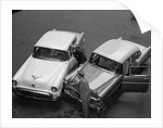 1950s 1960s Automobile Fender Bender Accident In Parking Lot by Corbis