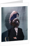 1960s Businessman Wearing 16th Century Medieval Helmet With Visor Closed Blue White Feather by Corbis