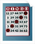 1960s Bingo Card With Red Markers In A Winning Game by Corbis