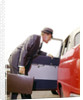 1960s Business Sales Man With Briefcase Getting Into Open Door Red White Checker Taxi Cab by Corbis