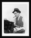 1930s Man Newspaper Reporter Wearing Hat Typing Smoking Cigar by Corbis