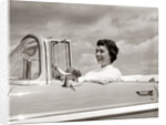 1950s Woman Driving Chevrolet Convertible Automobile by Corbis
