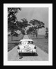 1950s Back Of White Ford Sedan Driving Off With Just Married Sign by Corbis