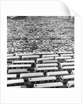 1960s Aerial Of Crowded Stadium Parking Lot With Separate Sections For Buses and Cars by Corbis
