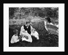 1890s 1900s Father Sitting In Woods With Three Children Baby Carriage Off To Side by Corbis