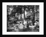 1890s 1900s Group Having Picnic In Woods With Horses and Wagons In Background by Corbis