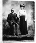 1890s 1900 Portrait Serious Couple Holding Hands Together In Rustic Studio Setting by Corbis