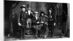 1890s 1900 Portrait Five Men Actors In Various Costumes Against Painted Studio Backdrop by Corbis