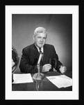 1960s Man Announcer Newscaster Talking At Microphone Indoor Studio Symbolic Freedom Of Speech by Corbis