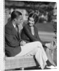 1930s Couple Sitting Together On Wicker Bench Husband Wife Outdoor by Corbis