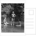 1940s Three Boys Outdoor In Swimming Hole by Corbis