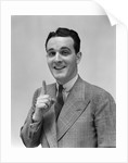 1940s Man In Suit Holding Up Index Finger Making A Point by Corbis