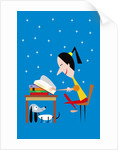 girl reading at night by Corbis