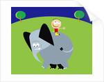 boy riding an elephant in a field by Corbis