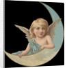 Die-Cut Scrap of Girl Angel in Crescent Moon by Corbis