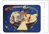 Biekens Pictorial Sticker with Futuristic Space Station by Corbis