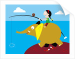Girl fishing from friendly elephant's back by Corbis