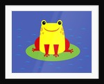 Cheerful frog sitting on lily pad by Corbis