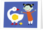 Goose Laying a Golden Egg for Happy Girl by Corbis