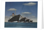 Illustration of Four American Export Lines Ships by Corbis