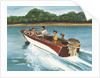 Illustration of Family in Speed Boat by Corbis
