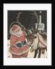 Illustration of Santa Feeding Reindeer Candy Cane by John Rae