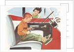 Illustration of Boy Putting on Safety Belt by Corbis
