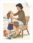 Illustration of Mother Combing Daughter's Hair by Corbis