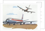 Illustration of Airplanes at Airport by Corbis