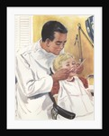 Illustration of Dentist Performing Exam on Girl by Corbis