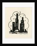 Illustration of New York City Skyline at Night by Boris Artzybasheff
