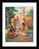 Illustration of daily life in Native American village by Arnold Lorne Hicks
