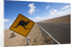 Kangaroo crossing sign in the Australian Outback by Corbis