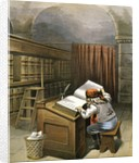 Illustration of Santa Claus checking list of naughty and nice children by William Roger Snow