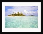 Sea kayaks on the beach of a coconut palm tree island by Corbis