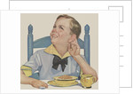 Boy listening while eating cereal by Corbis