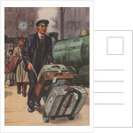 Porter with suitcases at train station by Corbis