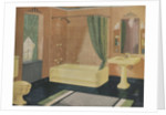 Yellow and green bathroom by Corbis