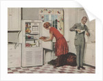 Man and woman in kitchen getting food by Corbis