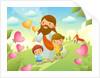 Jesus Christ walking with two children by Corbis