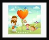Figure of Jesus Christ watering a plant and two children playing on the grass by Corbis
