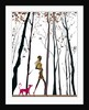 Side profile of a woman walking with her dog by Corbis