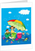 Two girls and a boy under an umbrella in the rain by Corbis