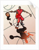 Basketball player dribbling ball by Corbis