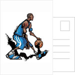 Basketball player dribbling ball by Corbis