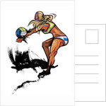 Woman playing volleyball, side view by Corbis