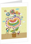Children playing by potted plant by Corbis