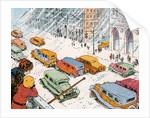 Children watching city traffic in snowstorm by Corbis