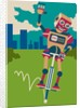 Robot hopping on a pogo stick by Corbis